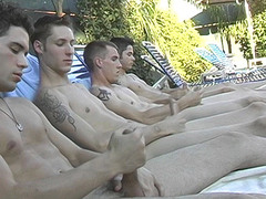 Poolside Circle Masturbating - Billy, KC, Turk And Winte
